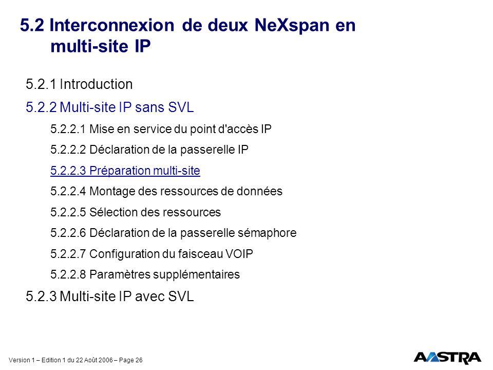 Version 1 – Edition 1 du 22 Août 2006 – Page 26 5.2 Interconnexion de deux NeXspan en multi-site IP 5.2.1 Introduction 5.2.2 Multi-site IP sans SVL 5.