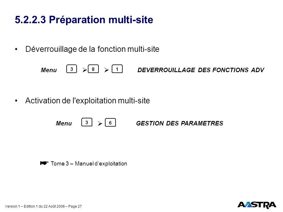 Version 1 – Edition 1 du 22 Août 2006 – Page 27 5.2.2.3 Préparation multi-site Déverrouillage de la fonction multi-site Activation de l'exploitation m