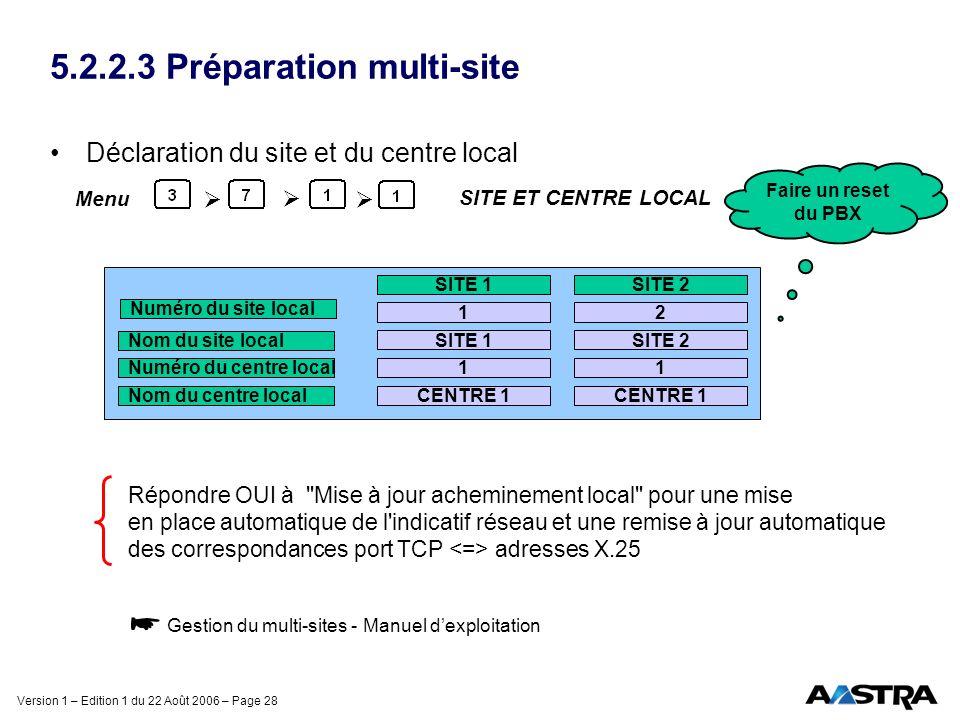 Version 1 – Edition 1 du 22 Août 2006 – Page 28 5.2.2.3 Préparation multi-site Déclaration du site et du centre local Répondre OUI à