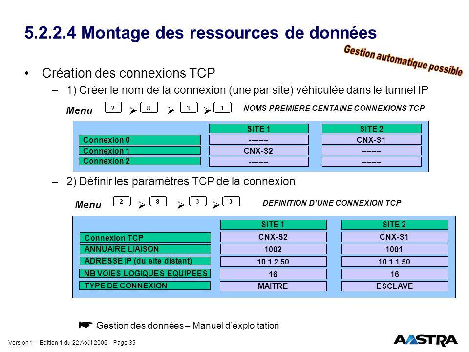 Version 1 – Edition 1 du 22 Août 2006 – Page 33 5.2.2.4 Montage des ressources de données Création des connexions TCP –1) Créer le nom de la connexion