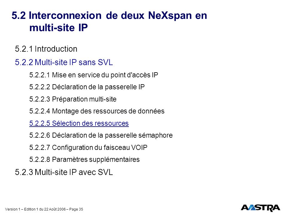 Version 1 – Edition 1 du 22 Août 2006 – Page 35 5.2 Interconnexion de deux NeXspan en multi-site IP 5.2.1 Introduction 5.2.2 Multi-site IP sans SVL 5.