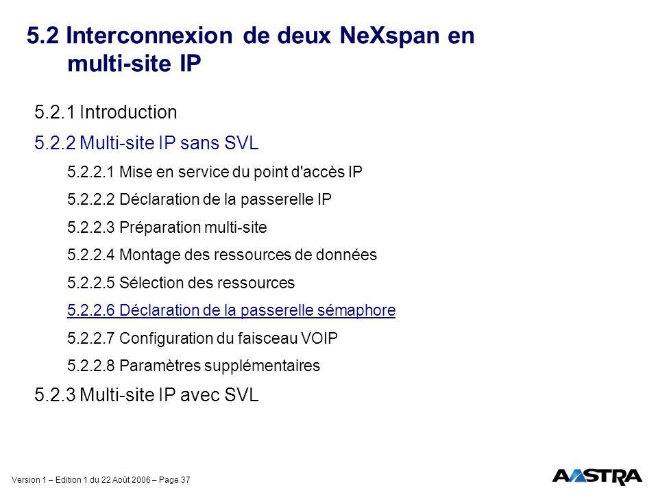 Version 1 – Edition 1 du 22 Août 2006 – Page 37 5.2 Interconnexion de deux NeXspan en multi-site IP 5.2.1 Introduction 5.2.2 Multi-site IP sans SVL 5.