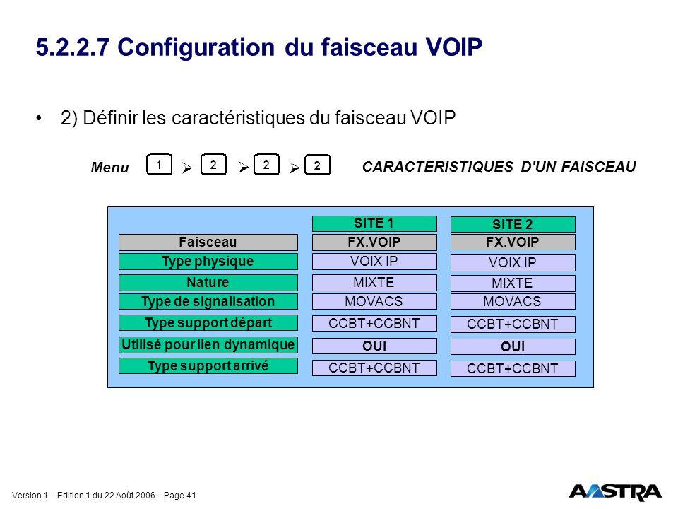 Version 1 – Edition 1 du 22 Août 2006 – Page 41 5.2.2.7 Configuration du faisceau VOIP 2) Définir les caractéristiques du faisceau VOIP CARACTERISTIQU
