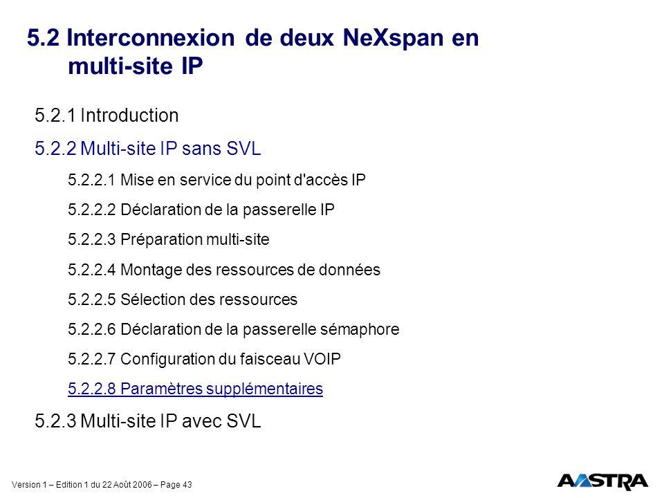 Version 1 – Edition 1 du 22 Août 2006 – Page 43 5.2 Interconnexion de deux NeXspan en multi-site IP 5.2.1 Introduction 5.2.2 Multi-site IP sans SVL 5.