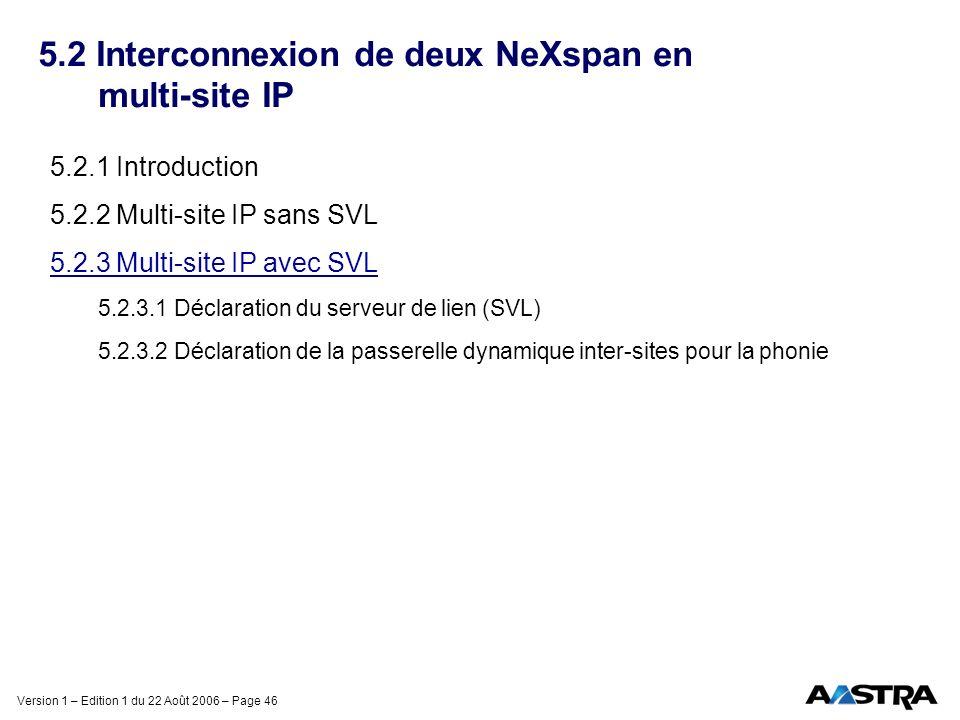 Version 1 – Edition 1 du 22 Août 2006 – Page 46 5.2 Interconnexion de deux NeXspan en multi-site IP 5.2.1 Introduction 5.2.2 Multi-site IP sans SVL 5.