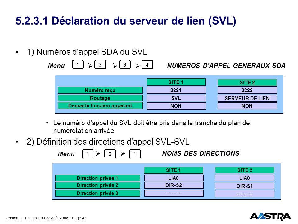 Version 1 – Edition 1 du 22 Août 2006 – Page 47 5.2.3.1 Déclaration du serveur de lien (SVL) 1) Numéros d'appel SDA du SVL Le numéro d'appel du SVL do
