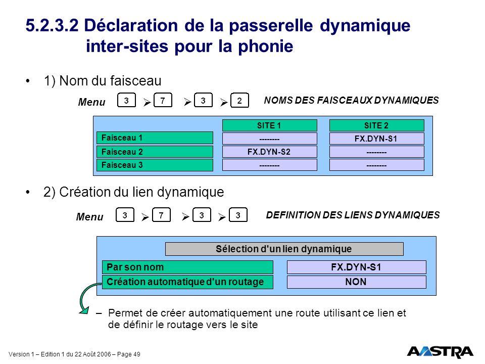 Version 1 – Edition 1 du 22 Août 2006 – Page 49 5.2.3.2 Déclaration de la passerelle dynamique inter-sites pour la phonie 1) Nom du faisceau 2) Créati