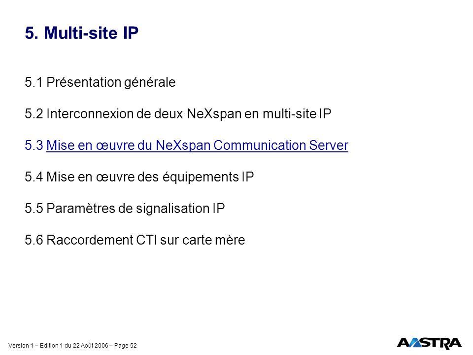 Version 1 – Edition 1 du 22 Août 2006 – Page 52 5. Multi-site IP 5.1 Présentation générale 5.2 Interconnexion de deux NeXspan en multi-site IP 5.3 Mis