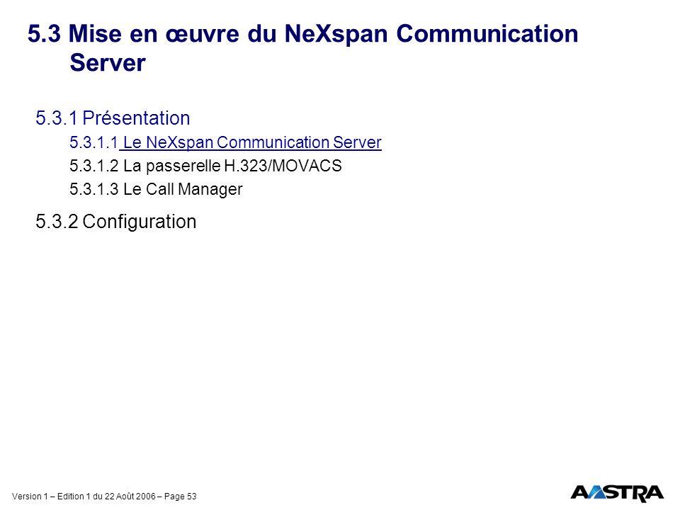 Version 1 – Edition 1 du 22 Août 2006 – Page 53 5.3 Mise en œuvre du NeXspan Communication Server 5.3.1 Présentation 5.3.1.1 Le NeXspan Communication
