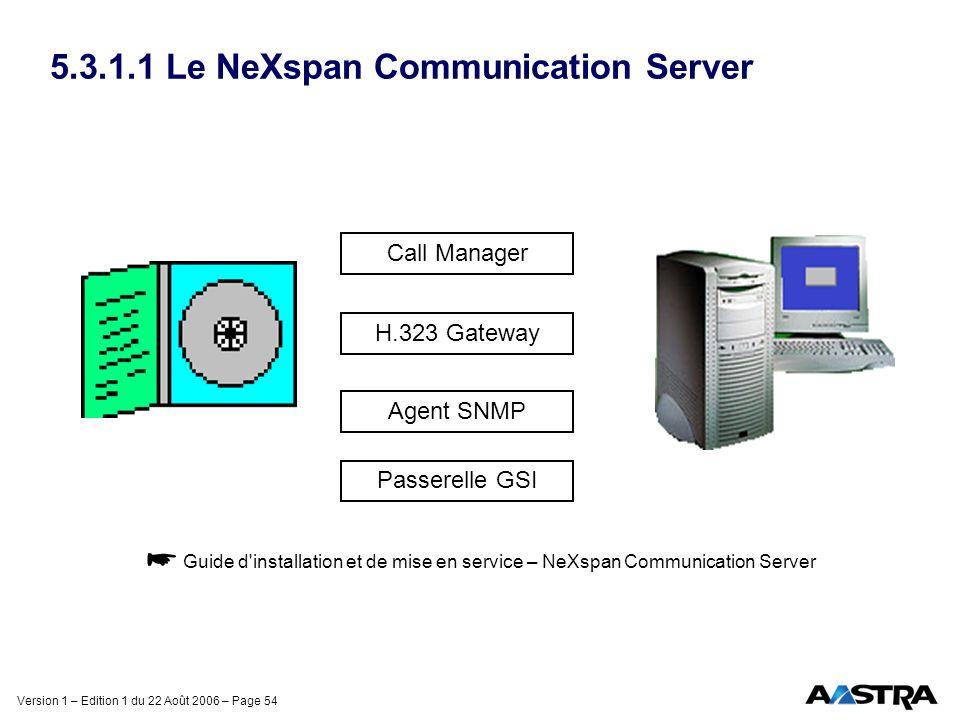 Version 1 – Edition 1 du 22 Août 2006 – Page 54 5.3.1.1 Le NeXspan Communication Server Guide d'installation et de mise en service – NeXspan Communica