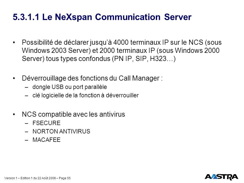 Version 1 – Edition 1 du 22 Août 2006 – Page 55 5.3.1.1 Le NeXspan Communication Server Possibilité de déclarer jusquà 4000 terminaux IP sur le NCS (s