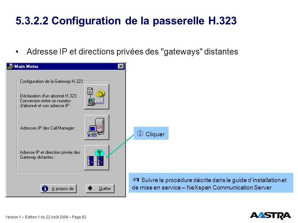 Version 1 – Edition 1 du 22 Août 2006 – Page 62 5.3.2.2 Configuration de la passerelle H.323 Adresse IP et directions privées des