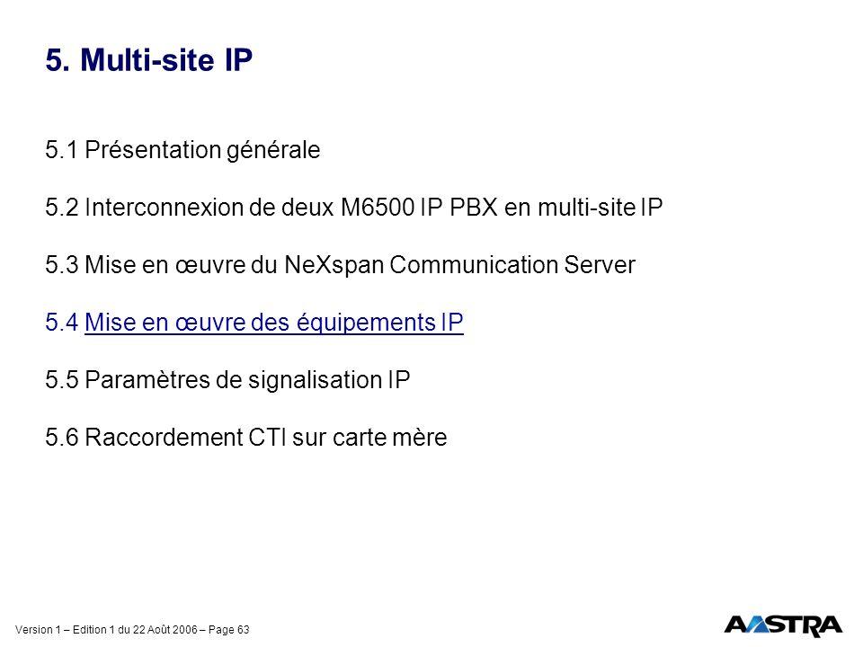 Version 1 – Edition 1 du 22 Août 2006 – Page 63 5. Multi-site IP 5.1 Présentation générale 5.2 Interconnexion de deux M6500 IP PBX en multi-site IP 5.