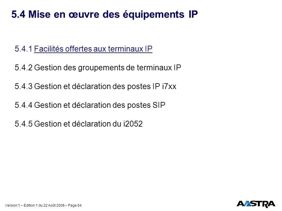 Version 1 – Edition 1 du 22 Août 2006 – Page 64 5.4 Mise en œuvre des équipements IP 5.4.1 Facilités offertes aux terminaux IP 5.4.2 Gestion des group