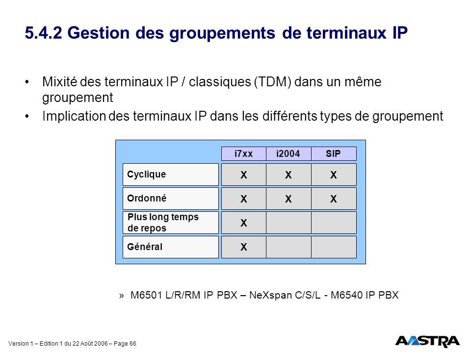 Version 1 – Edition 1 du 22 Août 2006 – Page 66 5.4.2 Gestion des groupements de terminaux IP Mixité des terminaux IP / classiques (TDM) dans un même