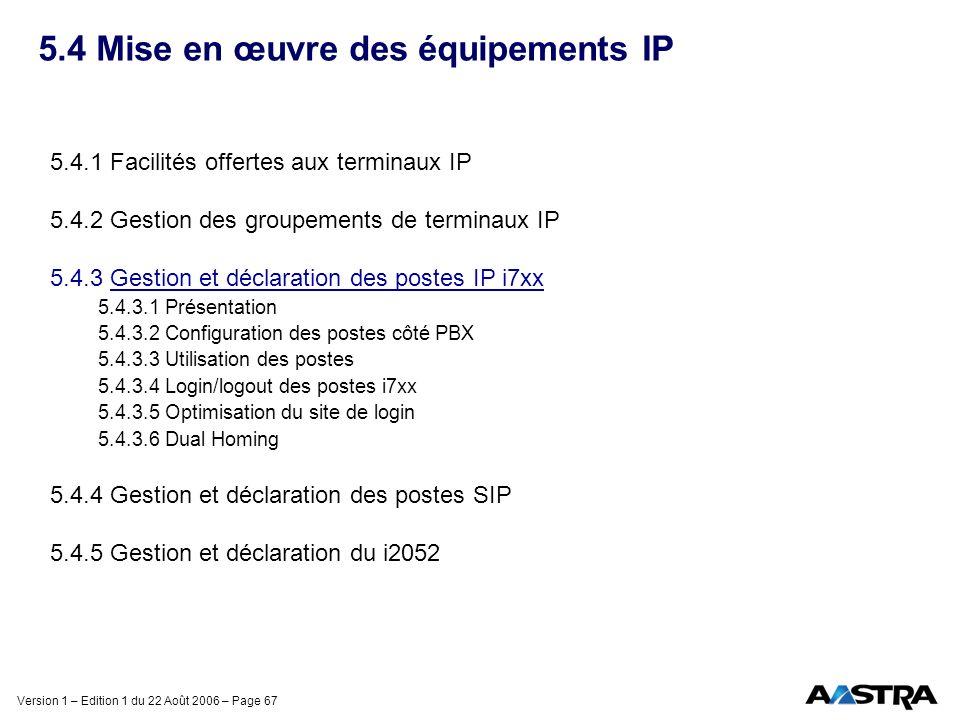 Version 1 – Edition 1 du 22 Août 2006 – Page 67 5.4 Mise en œuvre des équipements IP 5.4.1 Facilités offertes aux terminaux IP 5.4.2 Gestion des group