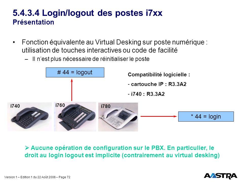 Version 1 – Edition 1 du 22 Août 2006 – Page 72 5.4.3.4 Login/logout des postes i7xx Présentation Fonction équivalente au Virtual Desking sur poste nu