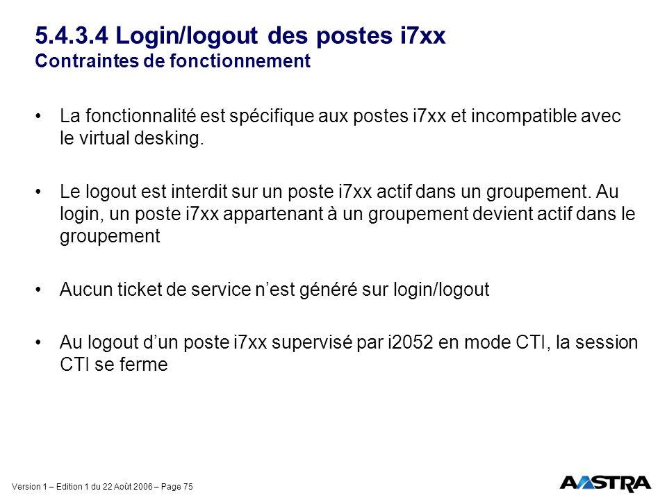 Version 1 – Edition 1 du 22 Août 2006 – Page 75 5.4.3.4 Login/logout des postes i7xx Contraintes de fonctionnement La fonctionnalité est spécifique au