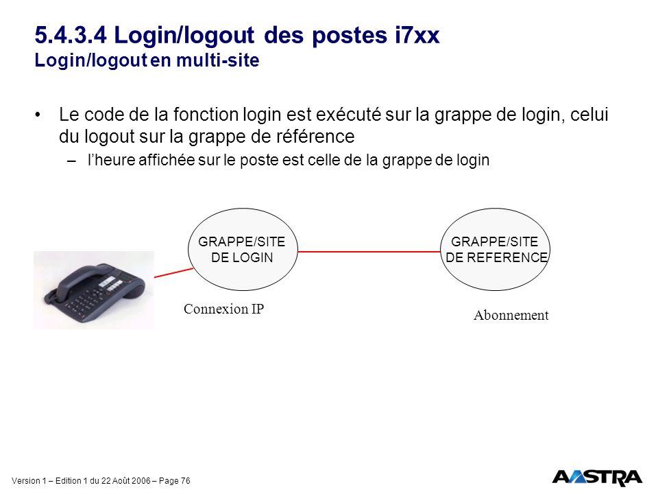 Version 1 – Edition 1 du 22 Août 2006 – Page 76 5.4.3.4 Login/logout des postes i7xx Login/logout en multi-site Le code de la fonction login est exécu