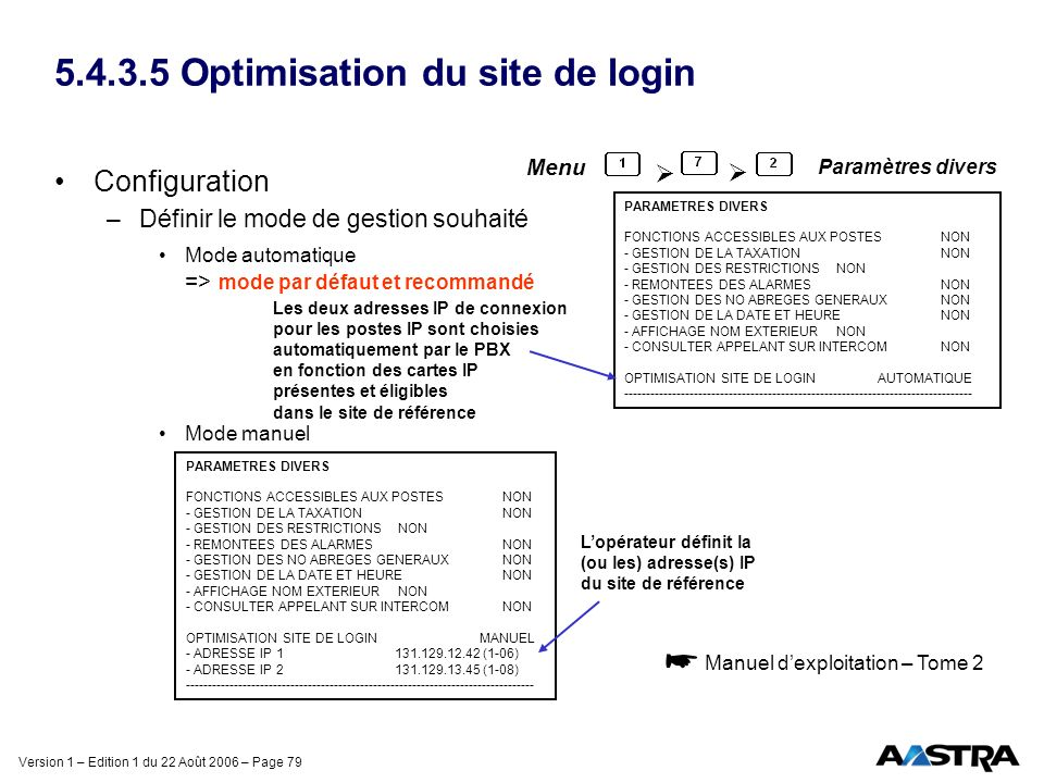 Version 1 – Edition 1 du 22 Août 2006 – Page 79 5.4.3.5 Optimisation du site de login Configuration –Définir le mode de gestion souhaité Mode automati