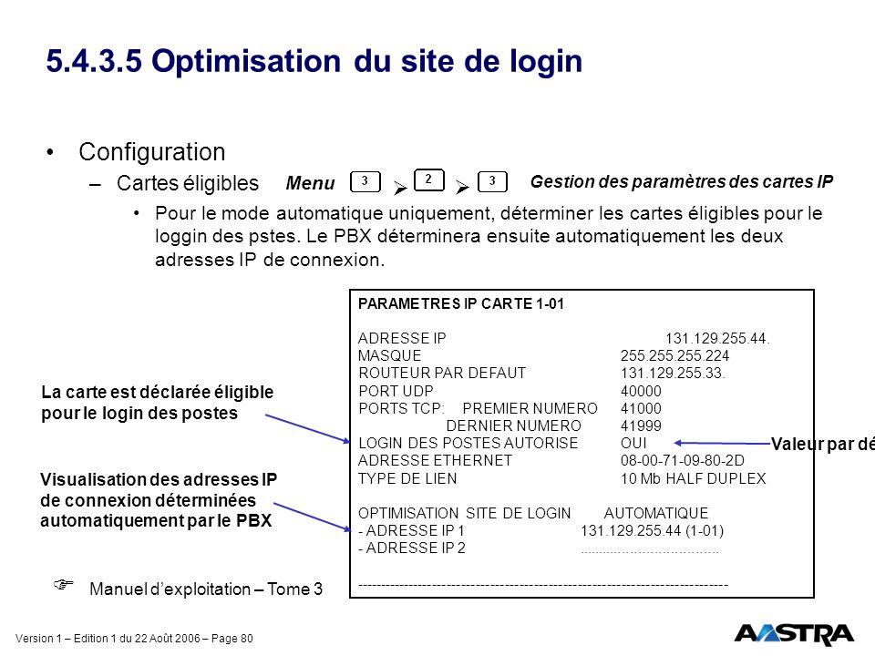 Version 1 – Edition 1 du 22 Août 2006 – Page 80 5.4.3.5 Optimisation du site de login Configuration –Cartes éligibles Pour le mode automatique uniquem