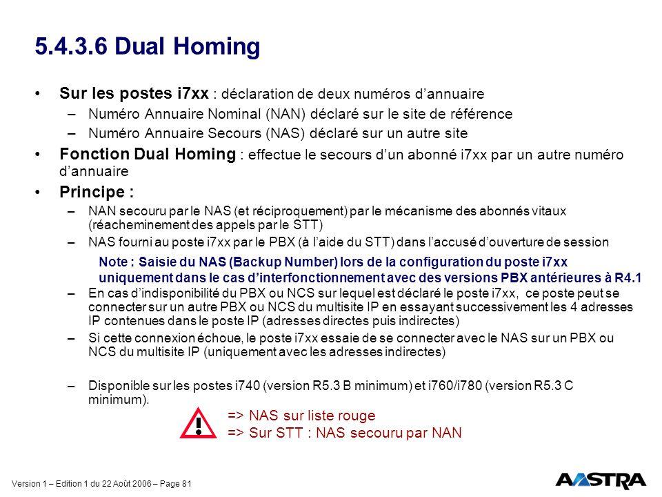 Version 1 – Edition 1 du 22 Août 2006 – Page 81 5.4.3.6 Dual Homing Sur les postes i7xx : déclaration de deux numéros dannuaire –Numéro Annuaire Nomin