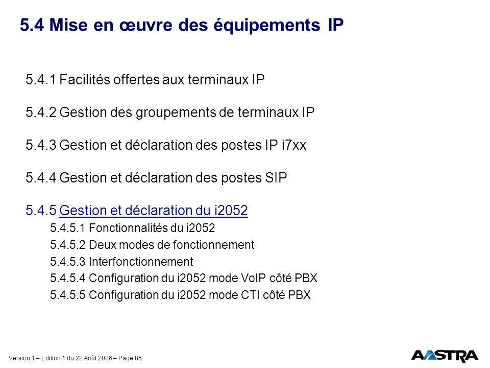 Version 1 – Edition 1 du 22 Août 2006 – Page 85 5.4 Mise en œuvre des équipements IP 5.4.1 Facilités offertes aux terminaux IP 5.4.2 Gestion des group