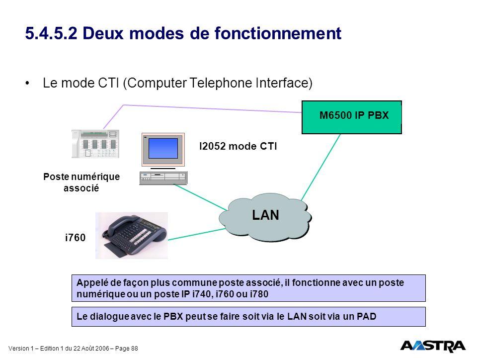 Version 1 – Edition 1 du 22 Août 2006 – Page 88 5.4.5.2 Deux modes de fonctionnement Le mode CTI (Computer Telephone Interface) Appelé de façon plus c