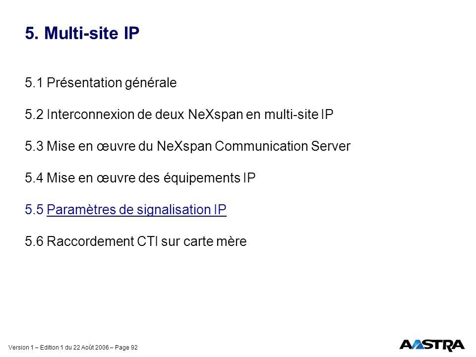 Version 1 – Edition 1 du 22 Août 2006 – Page 92 5. Multi-site IP 5.1 Présentation générale 5.2 Interconnexion de deux NeXspan en multi-site IP 5.3 Mis