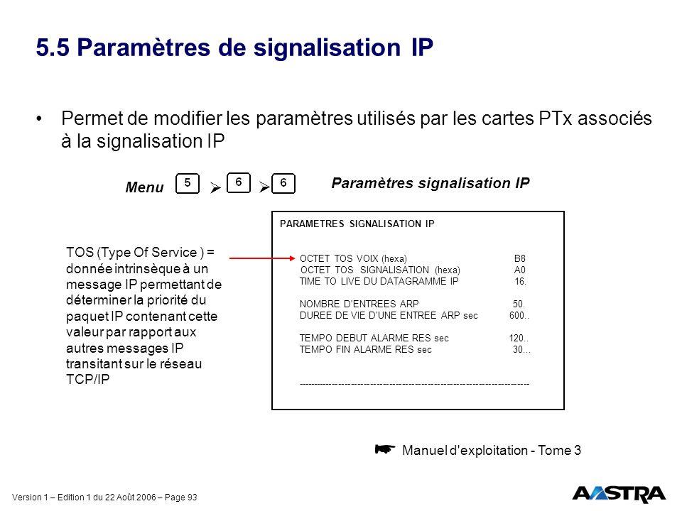 Version 1 – Edition 1 du 22 Août 2006 – Page 93 5.5 Paramètres de signalisation IP Permet de modifier les paramètres utilisés par les cartes PTx assoc