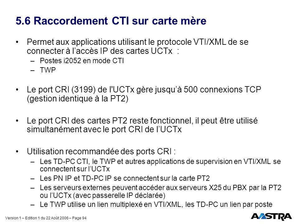 Version 1 – Edition 1 du 22 Août 2006 – Page 94 5.6 Raccordement CTI sur carte mère Permet aux applications utilisant le protocole VTI/XML de se conne