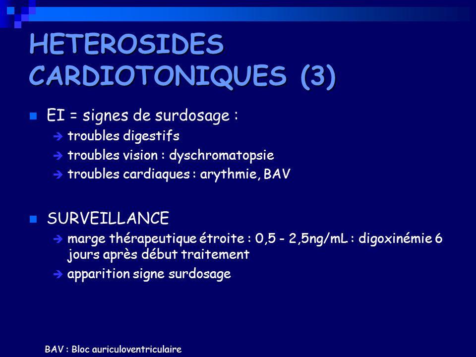 EI = signes de surdosage : troubles digestifs troubles vision : dyschromatopsie troubles cardiaques : arythmie, BAV SURVEILLANCE marge thérapeutique é