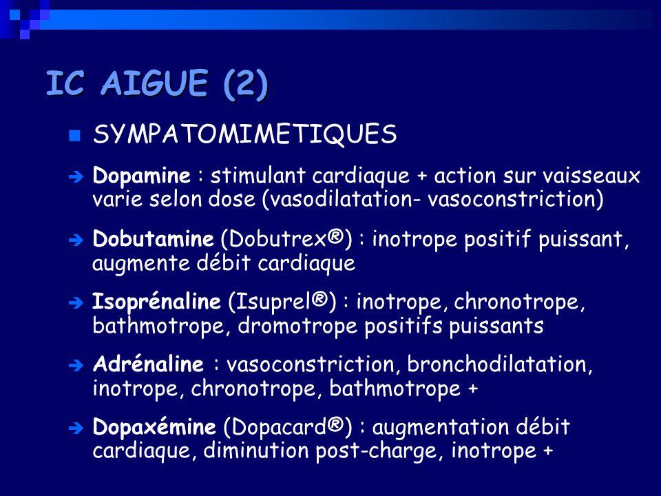 SYMPATOMIMETIQUES Dopamine : stimulant cardiaque + action sur vaisseaux varie selon dose (vasodilatation- vasoconstriction) Dobutamine (Dobutrex®) : i