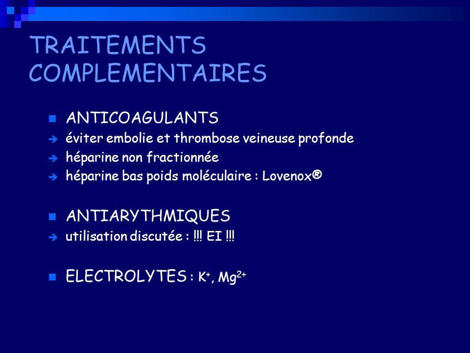 TRAITEMENTS COMPLEMENTAIRES ANTICOAGULANTS éviter embolie et thrombose veineuse profonde héparine non fractionnée héparine bas poids moléculaire : Lov