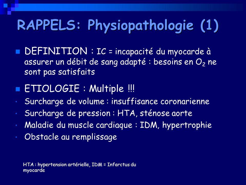 DEFINITION : IC = incapacité du myocarde à assurer un débit de sang adapté : besoins en O 2 ne sont pas satisfaits ETIOLOGIE : Multiple !!! Surcharge