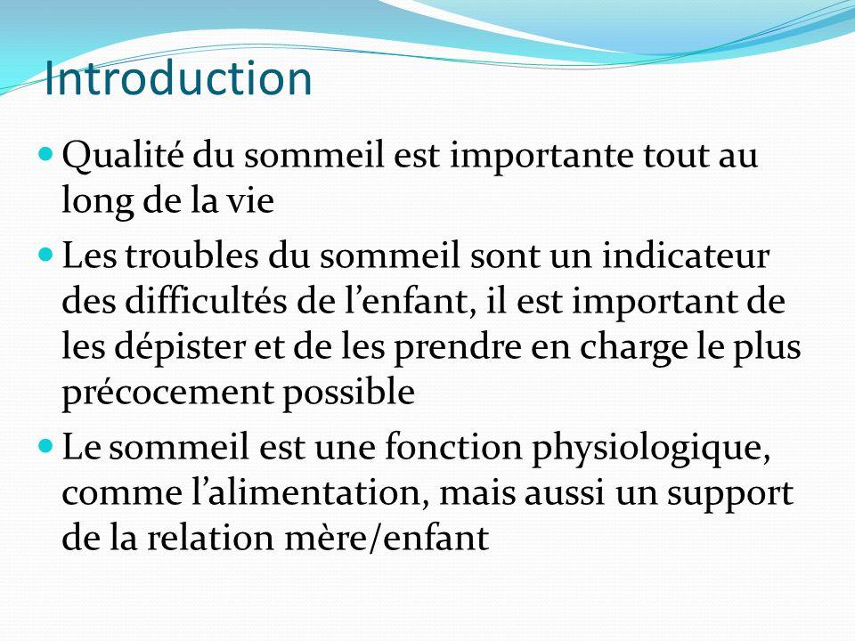 Introduction Qualité du sommeil est importante tout au long de la vie Les troubles du sommeil sont un indicateur des difficultés de lenfant, il est im