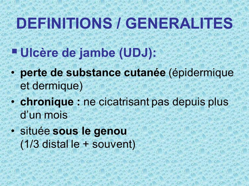 DEFINITIONS / GENERALITES Ulcère de jambe (UDJ): perte de substance cutanée (épidermique et dermique) chronique : ne cicatrisant pas depuis plus dun m