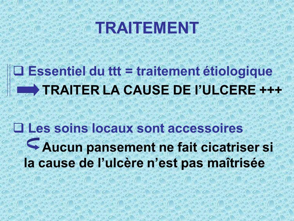 TRAITEMENT Essentiel du ttt = traitement étiologique TRAITER LA CAUSE DE lULCERE +++ Les soins locaux sont accessoires Aucun pansement ne fait cicatri
