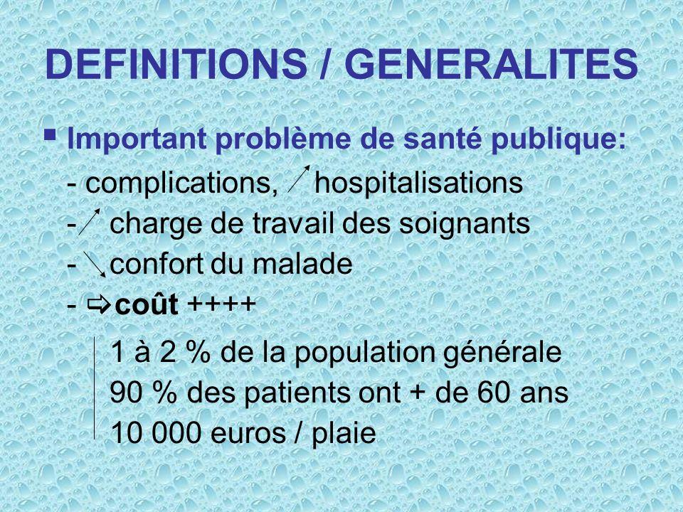 DEFINITIONS / GENERALITES Important problème de santé publique: - complications,hospitalisations - charge de travail des soignants - confort du malade