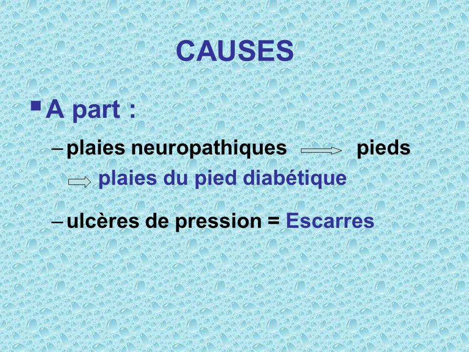 CAUSES A part : –plaies neuropathiques pieds plaies du pied diabétique –ulcères de pression = Escarres