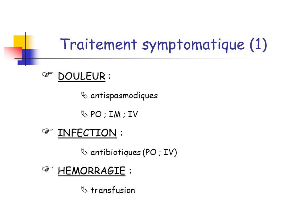 Traitement symptomatique (1) DOULEUR : antispasmodiques PO ; IM ; IV INFECTION : antibiotiques (PO ; IV) HEMORRAGIE : transfusion