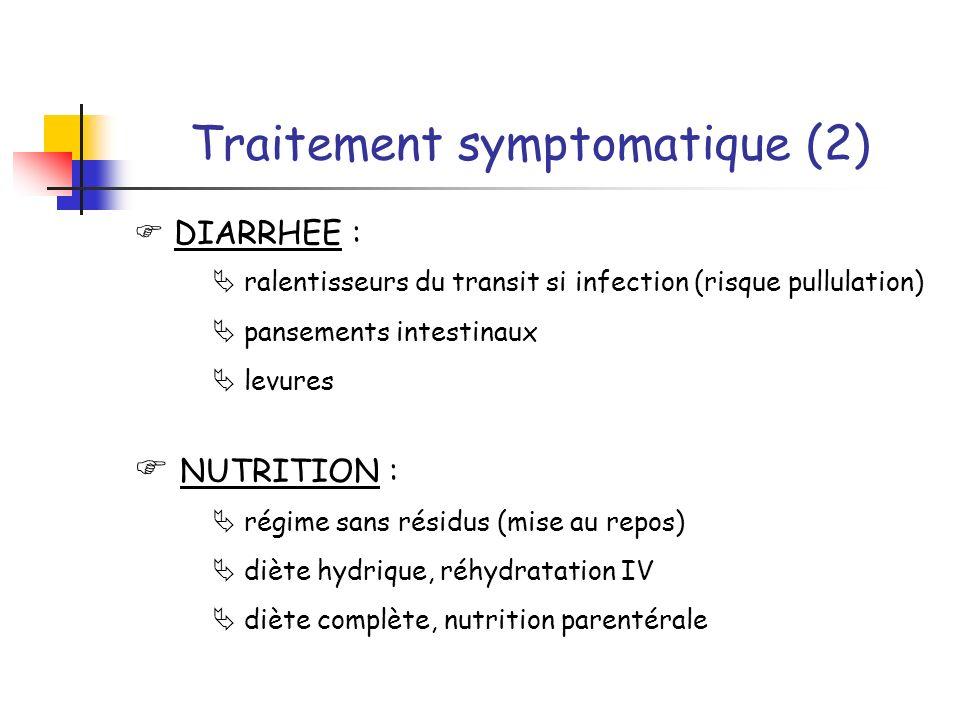 Traitement symptomatique (2) DIARRHEE : ralentisseurs du transit si infection (risque pullulation) pansements intestinaux levures NUTRITION : régime s