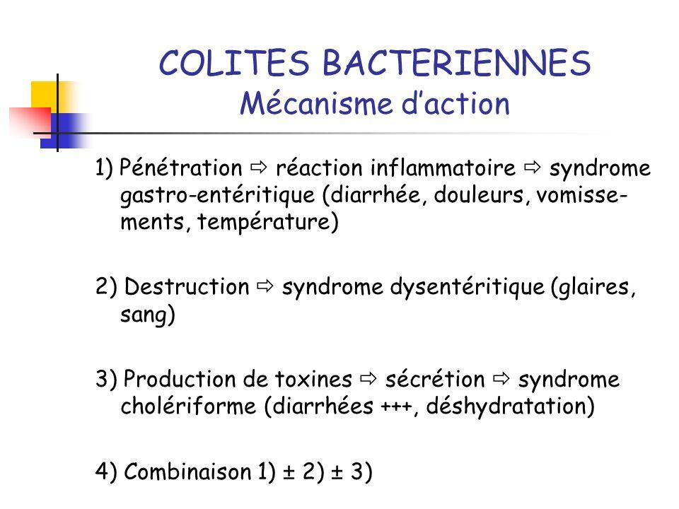 COLITES BACTERIENNES Mécanisme daction 1) Pénétration réaction inflammatoire syndrome gastro-entéritique (diarrhée, douleurs, vomisse- ments, températ