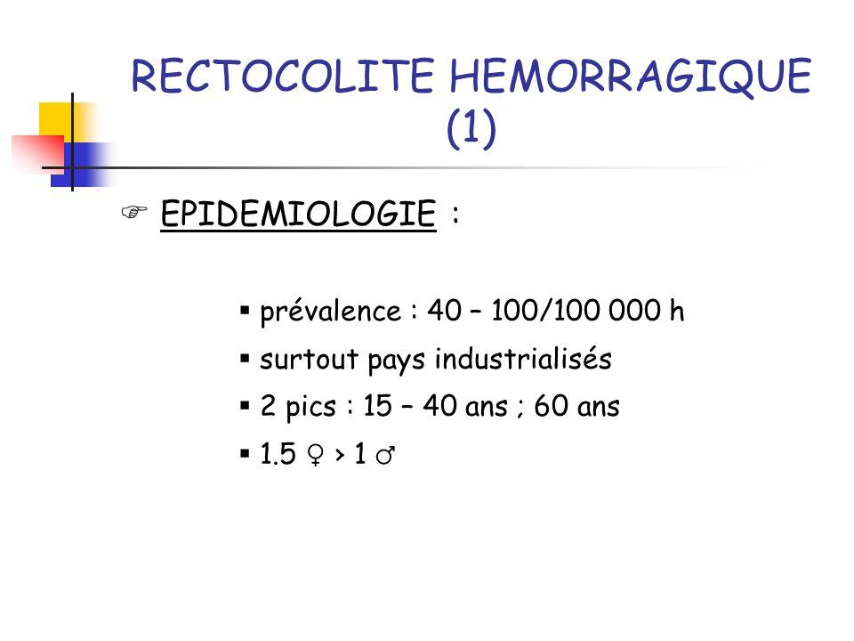 RECTOCOLITE HEMORRAGIQUE (1) EPIDEMIOLOGIE : prévalence : 40 – 100/100 000 h surtout pays industrialisés 2 pics : 15 – 40 ans ; 60 ans 1.5 1