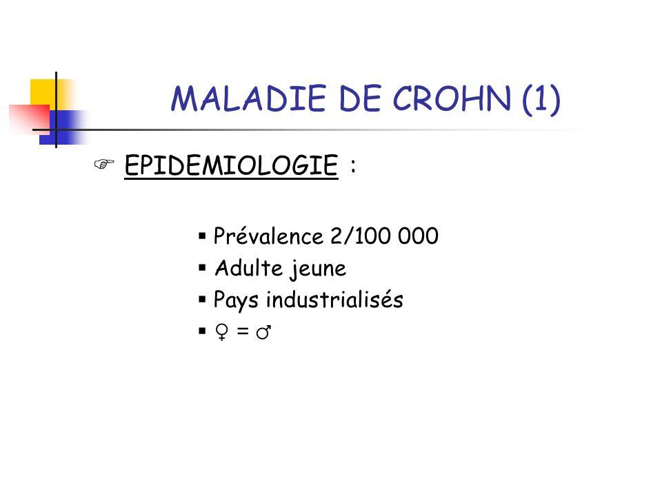 MALADIE DE CROHN (1) EPIDEMIOLOGIE : Prévalence 2/100 000 Adulte jeune Pays industrialisés =