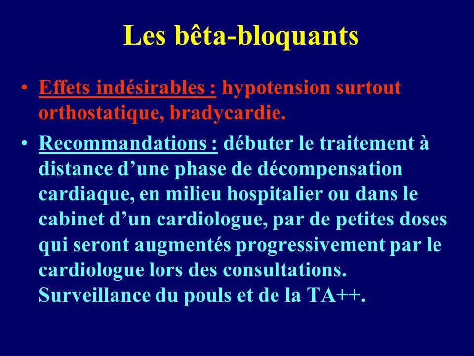 Les bêta-bloquants Effets indésirables : hypotension surtout orthostatique, bradycardie. Recommandations : débuter le traitement à distance dune phase