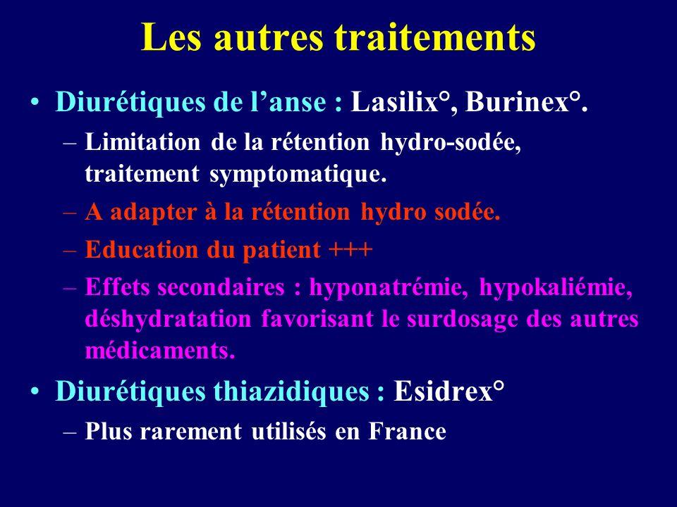Les autres traitements Diurétiques de lanse : Lasilix°, Burinex°. –Limitation de la rétention hydro-sodée, traitement symptomatique. –A adapter à la r