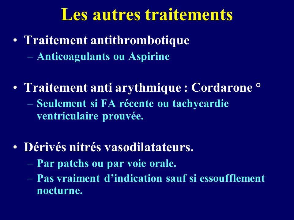Les autres traitements Traitement antithrombotique –Anticoagulants ou Aspirine Traitement anti arythmique : Cordarone ° –Seulement si FA récente ou ta