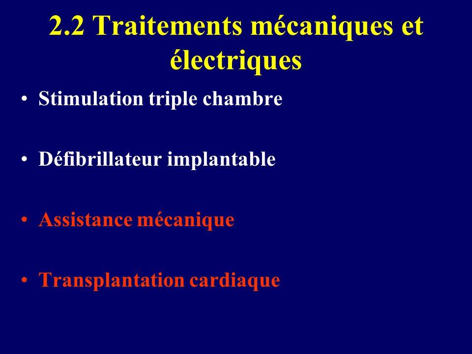 2.2 Traitements mécaniques et électriques Stimulation triple chambre Défibrillateur implantable Assistance mécanique Transplantation cardiaque