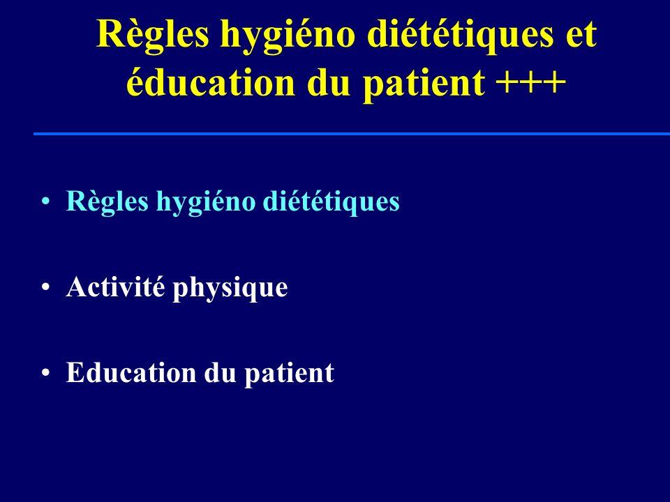 Règles hygiéno diététiques et éducation du patient +++ Règles hygiéno diététiques Activité physique Education du patient
